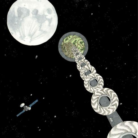 ISS4, la station orbitale reliée par un ascenseur spatial