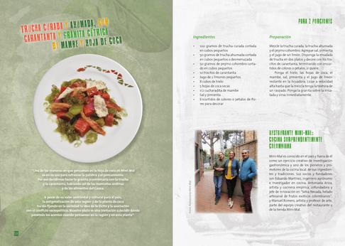 La hoja de coca en la gastronomía colombiana. Diseño gráfico editorial. Interno, receta Minimal.