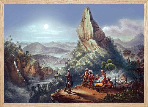 Illustration murale Clair de lune sur le rocher du diable