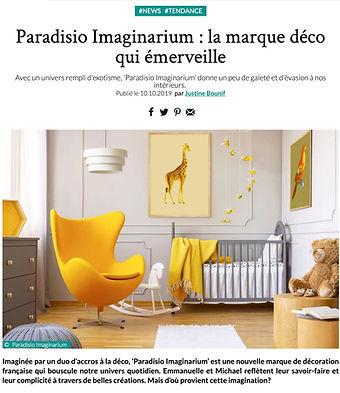 Article parlant de paradisio imaginarium dand le web magazine déco idées