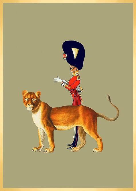 Monsieur le garde royal et son amie la lionne