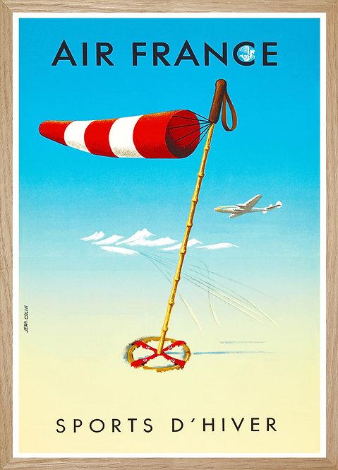 Illustration murale Air France le ski