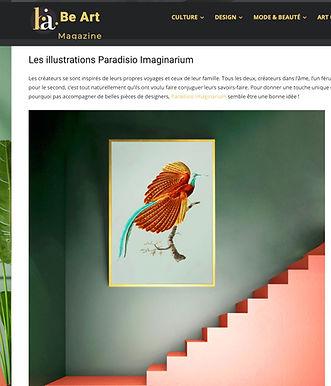 Sujet sur les créations paradisio imaginarium dans l'excellent webmagazine de déco Be Art