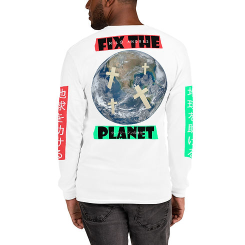 fix the planet white long sleeve (back).
