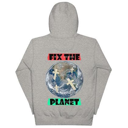 Fix The Planet  Tee Hoodie Grey