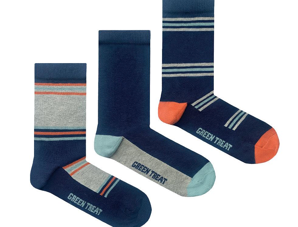 Boys GreenTreat 3pk Organic Cotton Socks BSHGT174