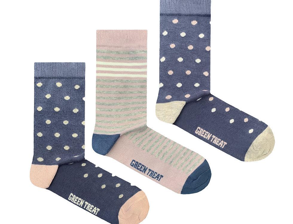 Girls GreenTreat 3pk Organic Cotton Socks GSHGT178