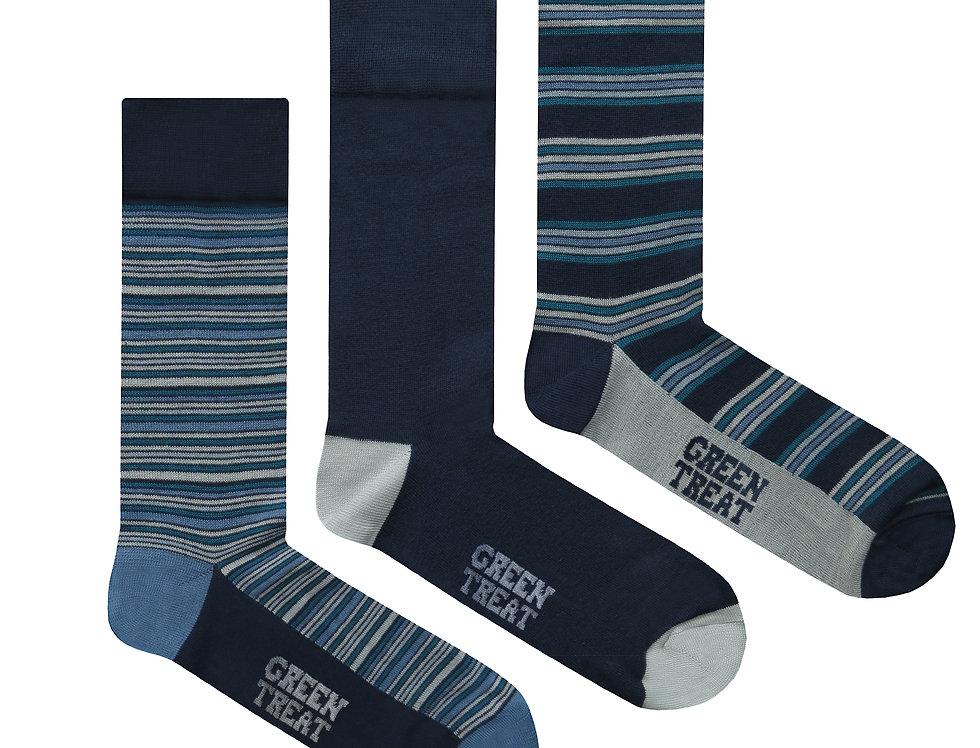 Mens GreenTreat 3pk Bamboo Socks MSHGT1296STM