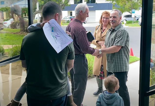 Church members greeted by Pastor Tony Amatangelo