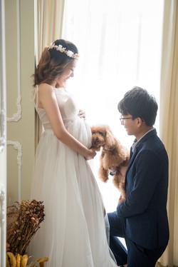 寵物入鏡孕婦寫真