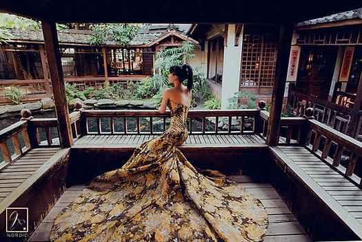 台中無為草堂中式魚尾禮服婚紗外拍