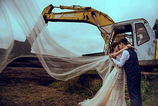 台中清水眷村文化園區怪手機械婚紗照