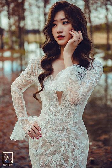 臺中泰安落羽松拍攝魚尾蕾絲婚紗照