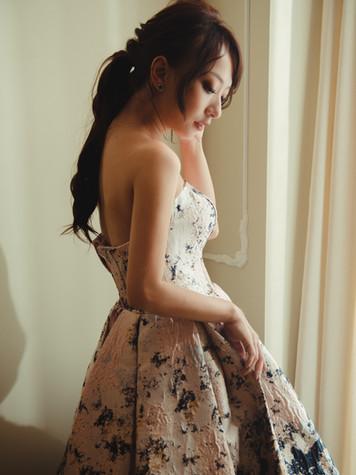 星雲印花 潑墨金絲 百摺裙