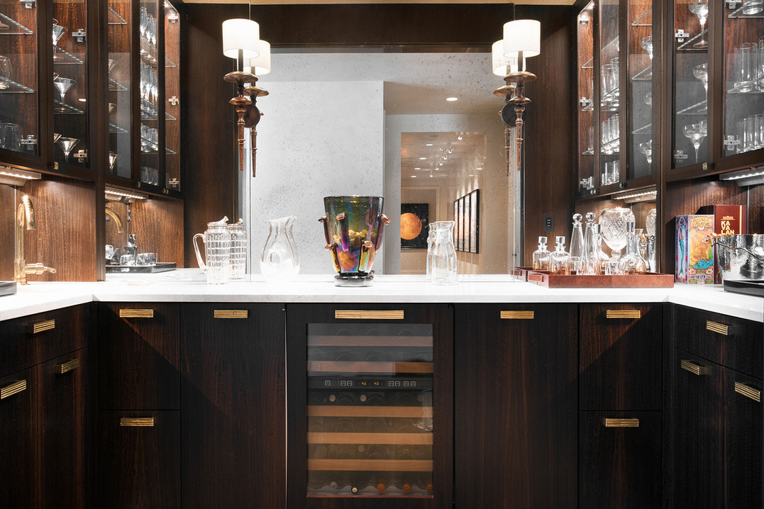 Bar features Fumed Eucalyptus Cabinets