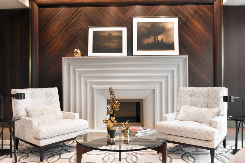 Hand-crafted, Fluted Limestone Fireplace