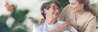 Professional helpful caregiver comfortin