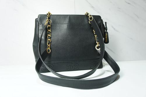 6ae209d28452 VINTAGE CHANEL Black Caviar Leather Triple CC Logo Shopper Shoulder Bag