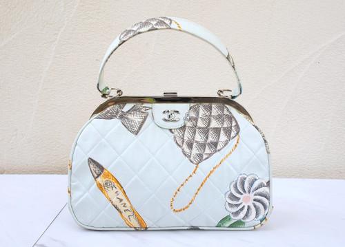 c10fb21144ae VINTAGE CHANEL Camellia Icon Print Sky Blue Tote bag