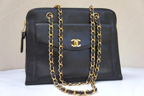 1d8ce0560214e2 VINTAGE CHANEL Gold CC Logo Turnlock Black Caviar Leather Shopper Shoulder  Bag