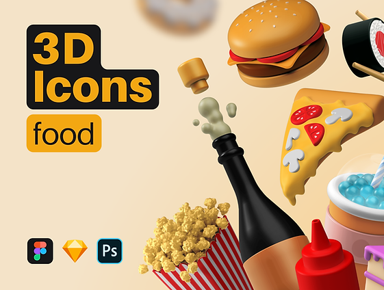 3D Icons Pack - Food
