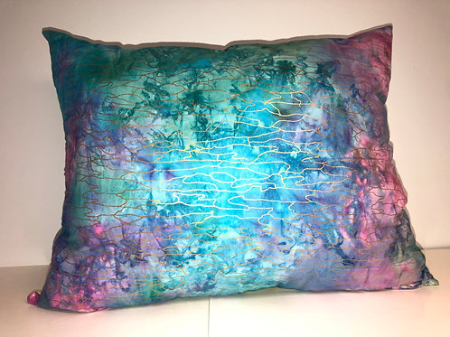 """Rainbow and Yellow Reversible Pillow, 18"""" x 14"""""""