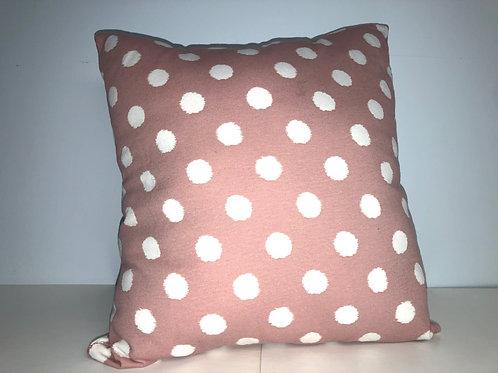 "Pink Polka Dot Pillow, 13"" x 13"""