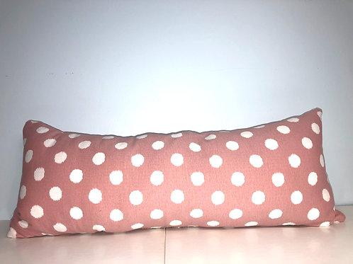 "Pink Polka Dot Pillow, 9"" x 22"""
