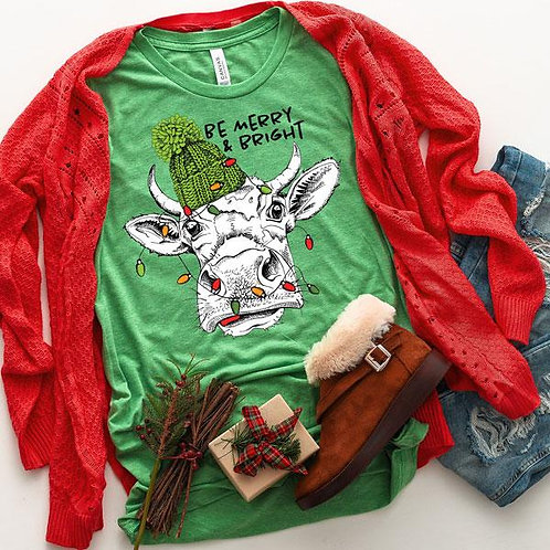 Be Merry & Bright Cow T-Shirt