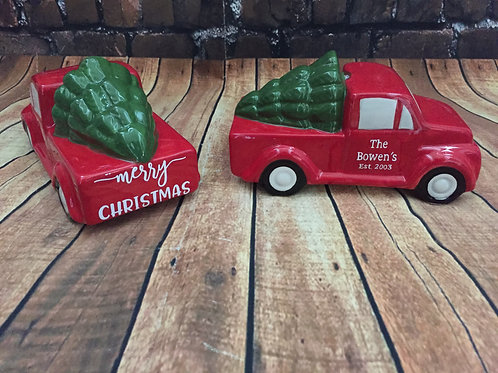 Personalized decorative red truck