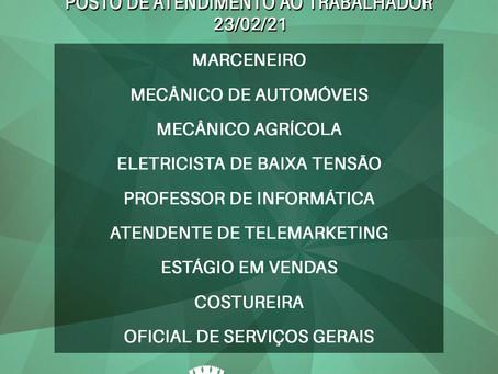 Atenção para as vagas de emprego no PAT de Jales nesta terça-feira