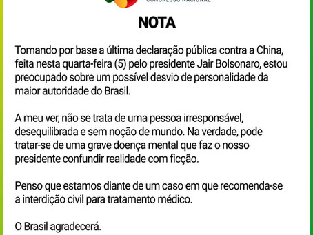 Fausto Pinato questiona a sanidade mental de Bolsonaro