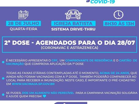 Covid-19: primeira e segunda dose do imunizante serão aplicadas também na quarta-feira