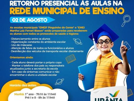 Secretaria de Educação de Urânia elabora plano de retorno seguro às aulas presenciais