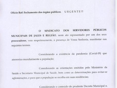 Prefeitura de Jales decreta fechamento das repartições municipais, conforme pedido do Sindicato