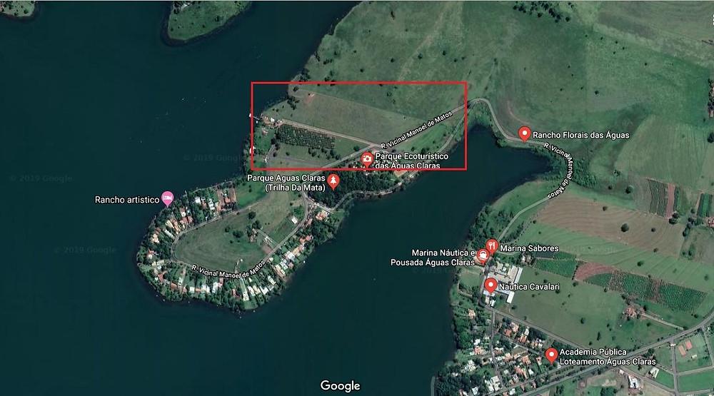 A área em vermelho aponta terreno reivindicado pelo Sindicato dos servidores Municipais de Jales e Região