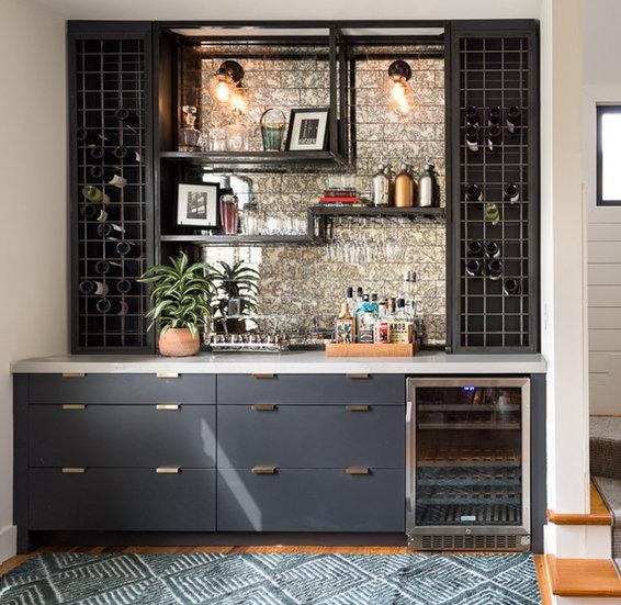 custom wet bar, custom kitchen wet bar, custom cabinets atlanta, modern