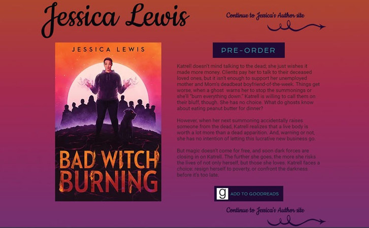 Contemporary Fantasy Author Jessica Lewis 2020 design