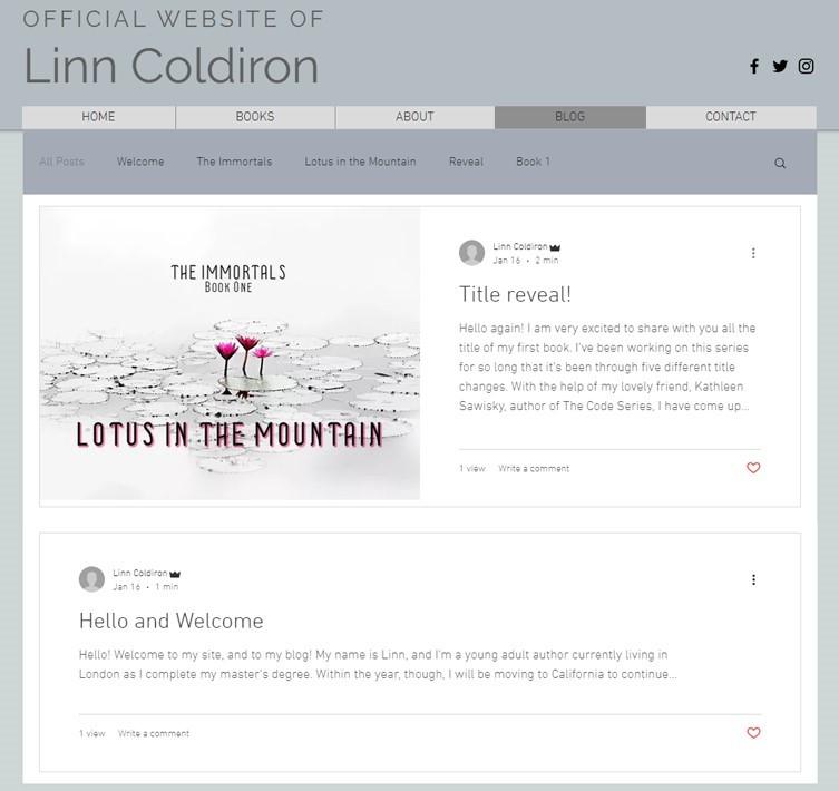 """""""Blog"""" Linn Coldiron 2020 design"""