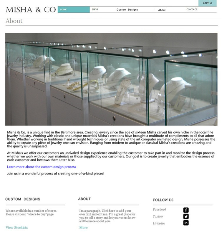 """About"" Misha&Co jeweler 2014 design"