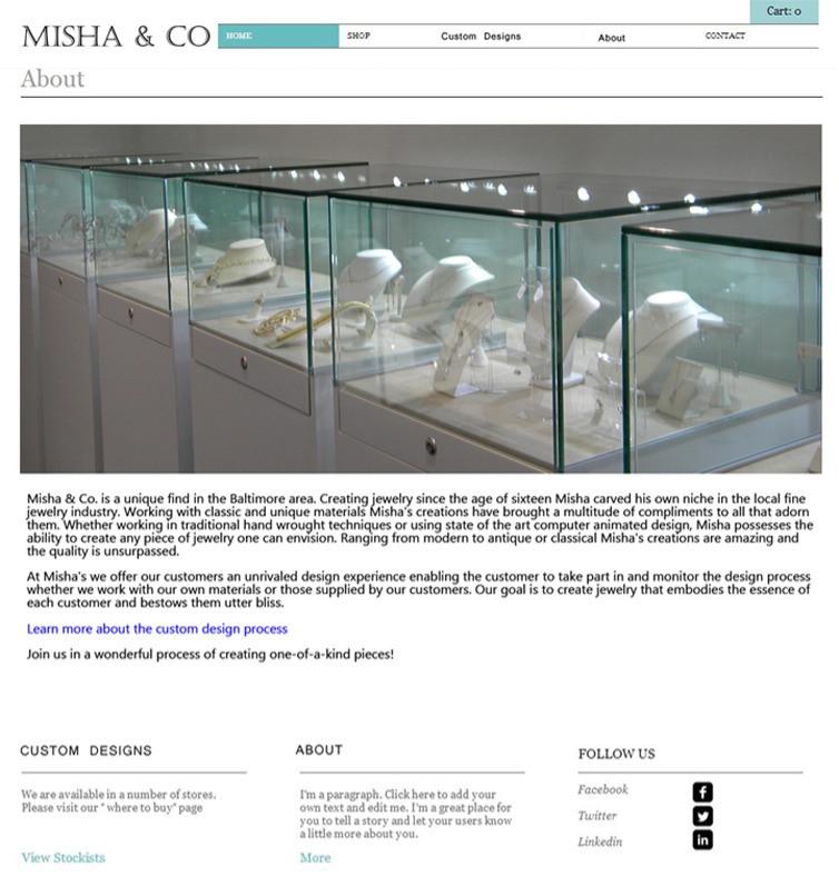 """About"" Misha&Co jeweler 2014 design"