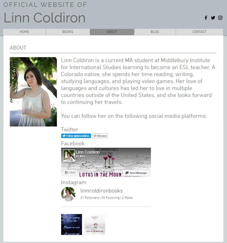 """About"" Linn Coldiron 2020 design"
