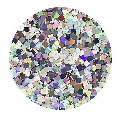 Holographic Silver Glitter Squares Colour Passion