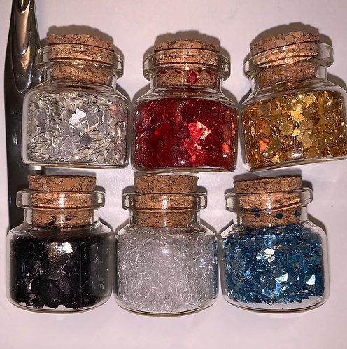 6pc set Silver, Gold, Black, White, Red & Lt Blue Super Shard 40grit
