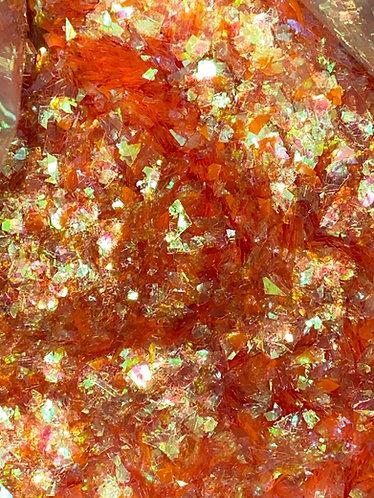 Orange Iridescent Ice Flakes, 1oz
