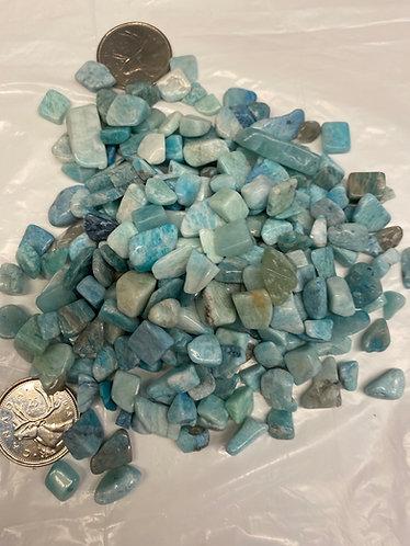 Amazonite, Aqua, Tumbled, xsm, 5oz bag