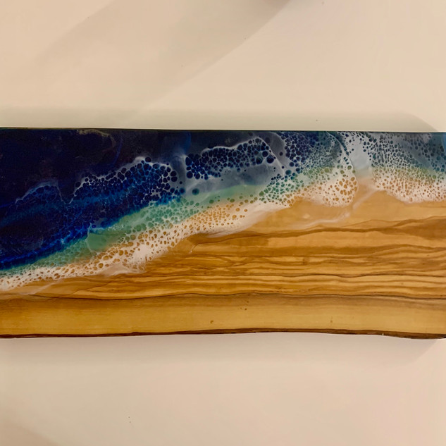 Cheese board, olive wood, resin beach wave