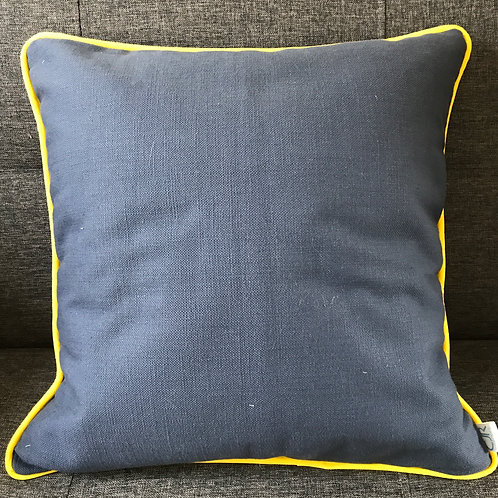 Dark Blue & Yellow Cushion - Square