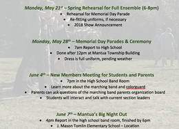 Spring Marching Band Schedule