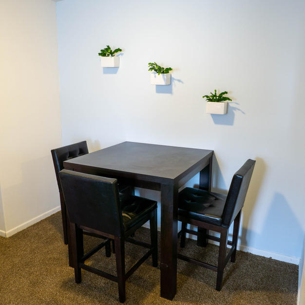 Dining room of a 2 bed 1 1/2 bath
